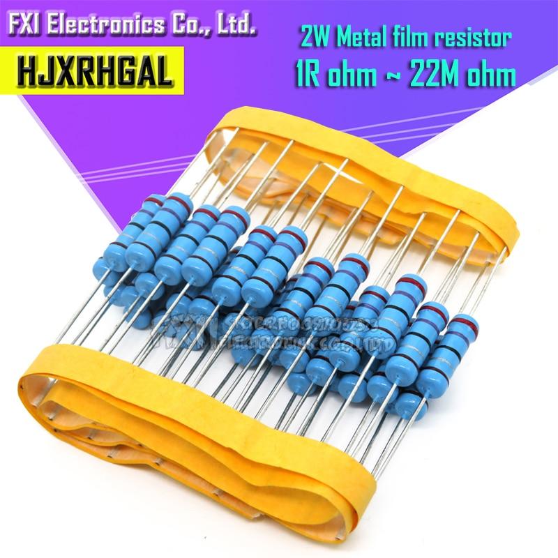 10pcs 2W Metal Film Resistor 1% 1R ~ 1M 2.2R 4.7R 10R 22R 47R 100R 220R 470R 1K 10K 100K 2.2 4.7 22 47 100 220 470 Ohm