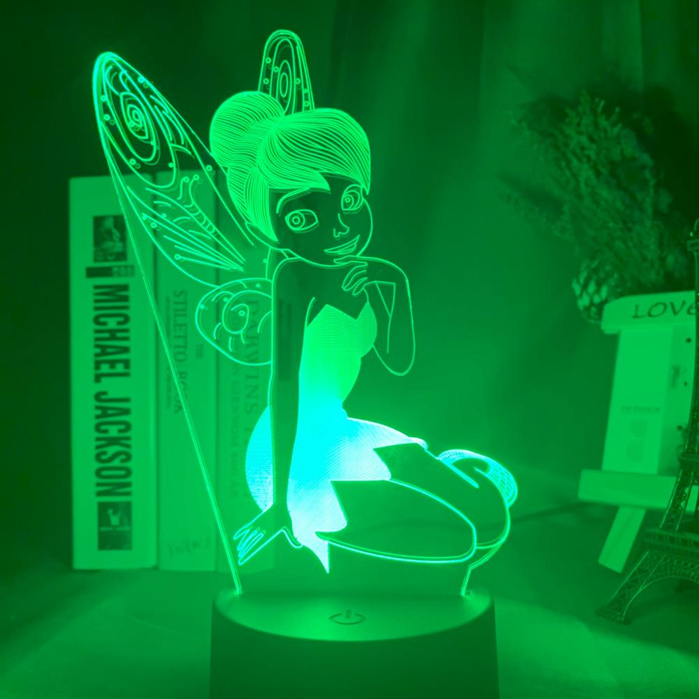 Fairy Tinkerbell Figure Nightlight for Home Decoration Color Changing Table Lamp Princess Tinker Bell Gifts Led Night Light Lamp