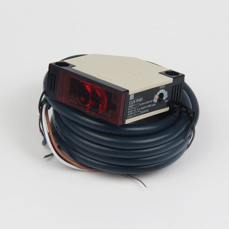 Aletler'ten Alet Parçaları'de E3JK R4M1 geribildirim yansıma tipi NPN beş telli fotoelektrik sensör anahtarı probu fotoelektrik değiştirme sensörü şerit
