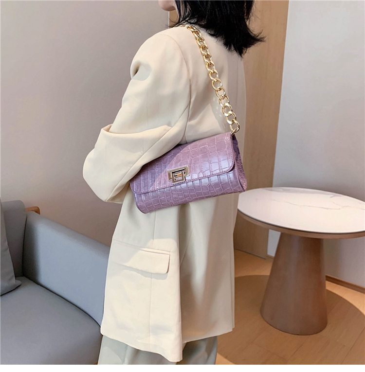 Crocodile Pattern Vintage Soild Color Small Square Bag For Women 2020 summer Handbag And Small Chain Bags Fashion Armpit Bag (5)