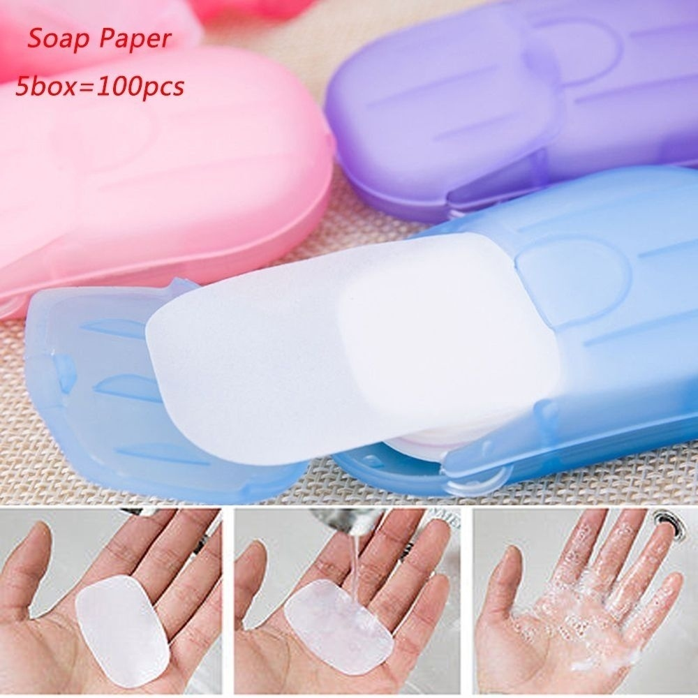 5 Box 20 Piece Disposable Soap Paper Portable Travel Soap Wash Paper Bath Clean Scented Slice Foam Mini Paper Soap Random Color