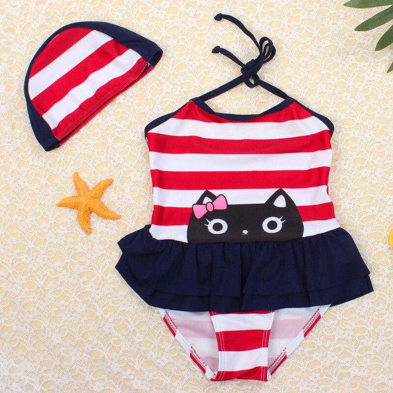 Girl'S Swimsuit Cute Kitten GIRL'S Skirt Baby-One-piece Small Children Students Swimwear CHILDREN'S Swimwear Hot Springs