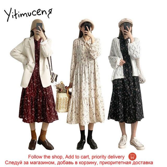 Yitimuceng Vintage Dresses for Women 2021 Spring Floral Print Bow Long Sleeve Black Party Elastic Waist Plus Size Woman Dress 3