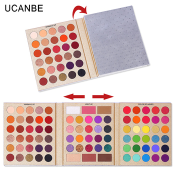 UCANBE 86 Colors All-purpose Makeup Playbook Matte Shimmer Glitter Eyeshadow with Highlight Contour Blush Eye Face Cosmetics Set