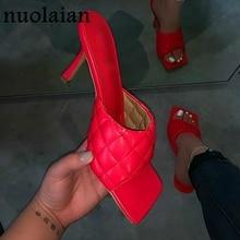 2020 Womens Summer Pump Shoes Red Leather High Heels Slipper Sandal