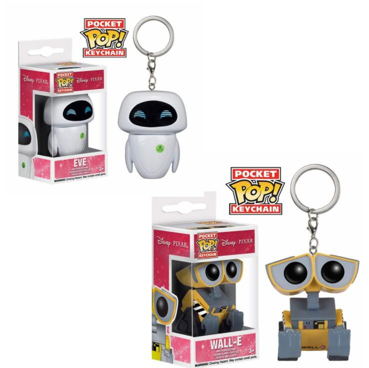 POP Pixar Film Wall-E Robot EVE Keychain Children Toy Pvc Action Figure Collection Model Toys For Children With  Box