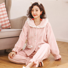 2019 Winter New Ladies Flannel Pajamas Set Solid Color Sweet Pink Lace Sleepwear 2PCS Comfort Thick Female Homewear