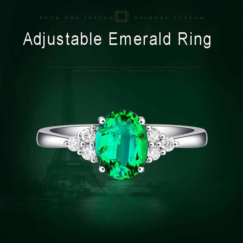 Ataullah สีเขียวมรกตอัญมณีแหวน 925 เงินสเตอร์ลิงแฟชั่นปรับแหวนโรแมนติกเครื่องประดับของขวัญ Fine RW080