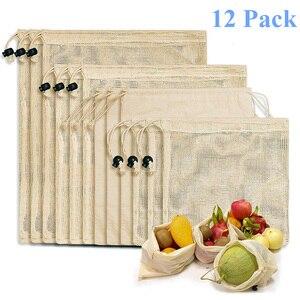Image 1 - 재사용 쇼핑 가방 100% 코 튼 야채 과일 저장 가방 메쉬 식료품 쇼핑 제품 가방 여성 빨 가방