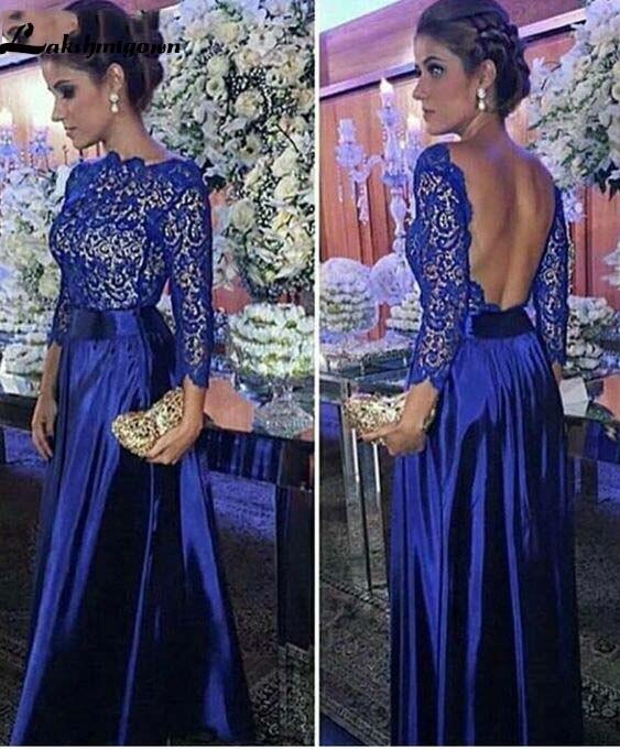 Mother Of The Bride Groom Dresses For Wedding 2019 Lace Long Sleeve V-Neck Royal Blue Satin Backless Vestido De Madrinha Farsali