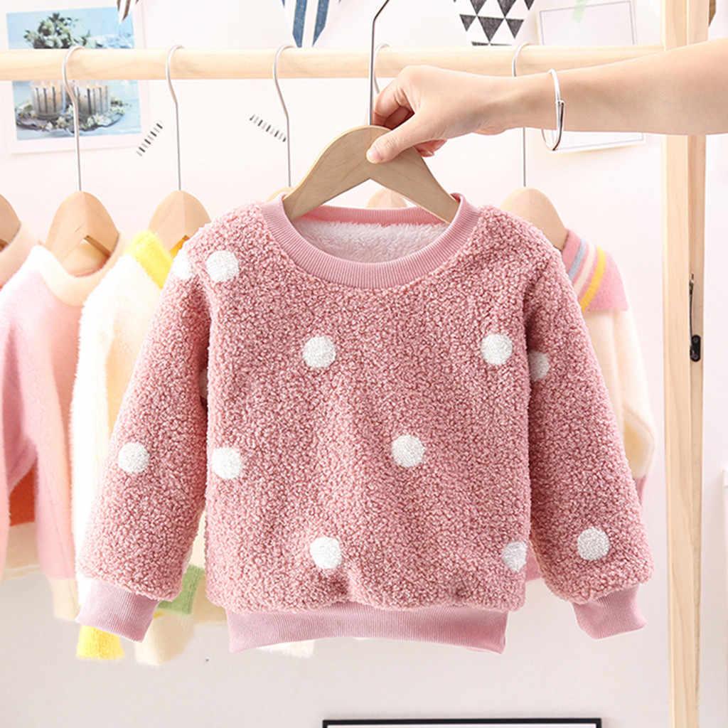 Kids Winter Sweatshirt Peuter Meisjes Afdrukken Dot Lange Mouw Fleece Sweatshirt Tops Warm Outfits Baby Boy Kleding H1108