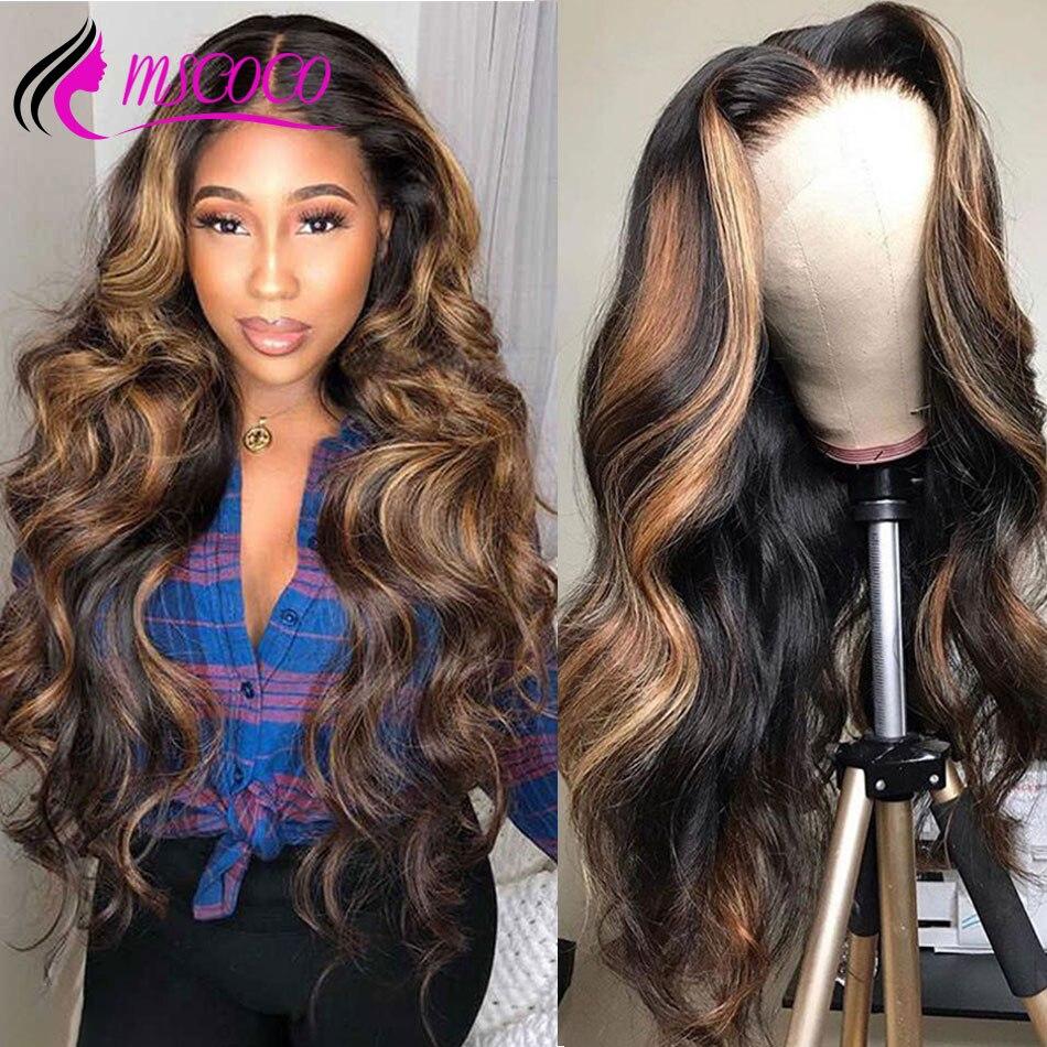 Парики из натуральных человеческих волос с красными кружевами, с эффектом омбре, с коричневыми волнистыми волосами спереди, с натуральным медом, светлый цвет, бразильские на сетке спереди