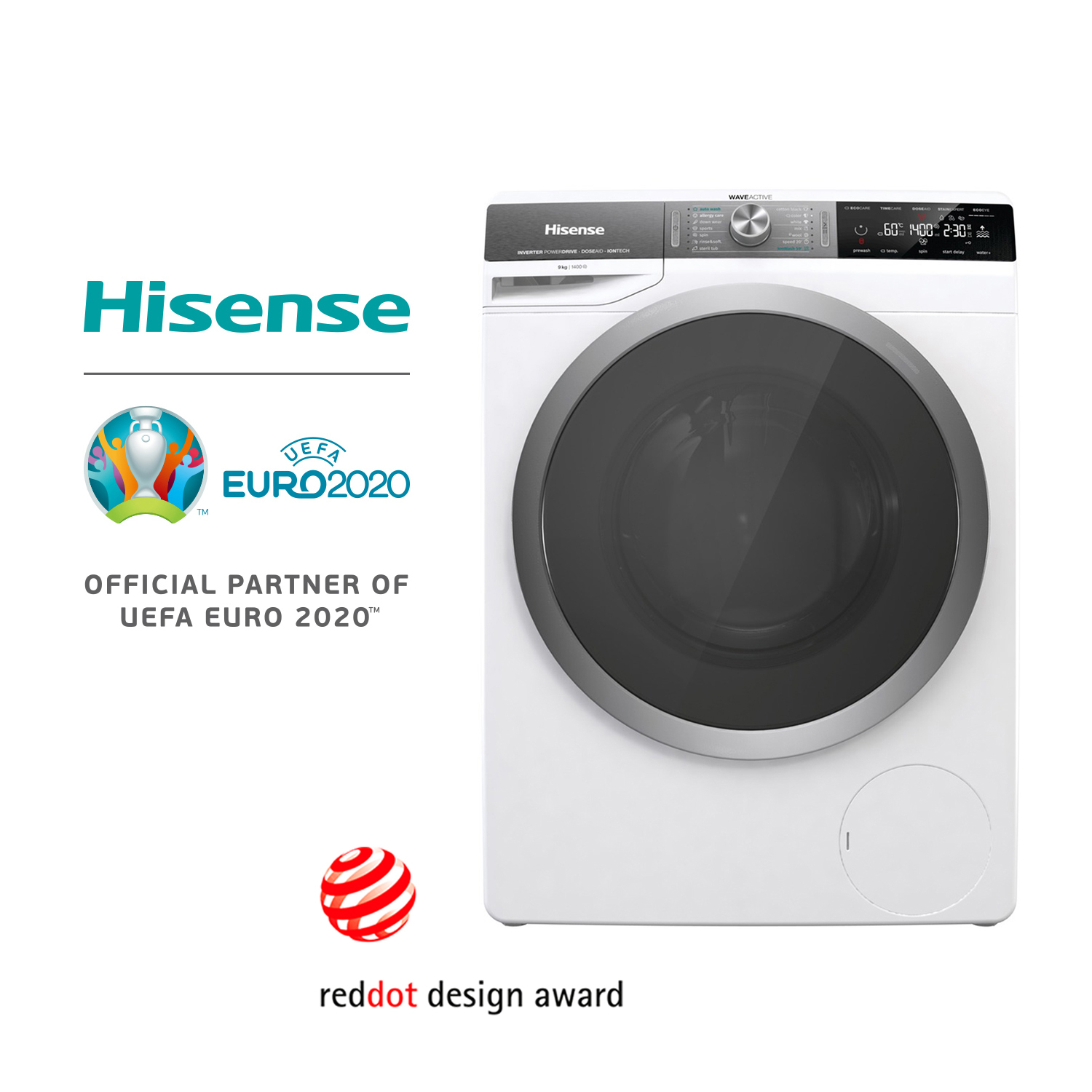 Hisense WFGS9014V Washing Machine, 64L Volume Drum, 9KG Load Capacity, 1400RPM, Automatic, Delay Start, Ecoeye
