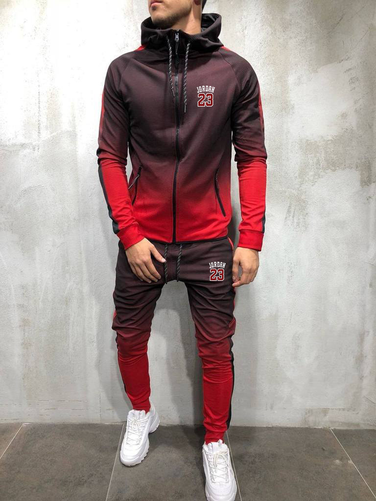 Mens Fashion Zipper Tracksuit Gradient Color 3D Print Casual Sportsuit Men Hoodies/Sweatshirts Sportswear Hooded+Pant
