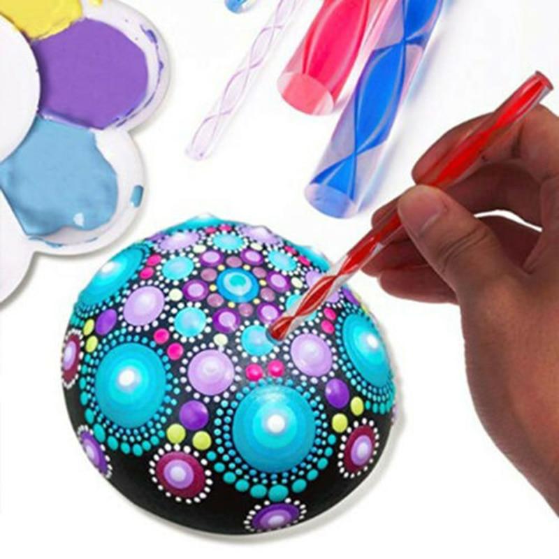 8Pcs Dotting Tool Acrylic Rods Mandala Painting Stencils Template Rocks Crafts