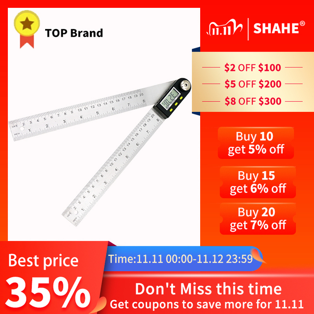 200mm /300 mm Stainless Steel Digital Meter Angle Inclinometer Angle Digital Ruler Electron Goniometer Protractor Angle finder