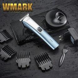 مقص الشعر اللاسلكي WMARK 2020 مع قاعدة شحن ولون رمادي وأحمر T-blade