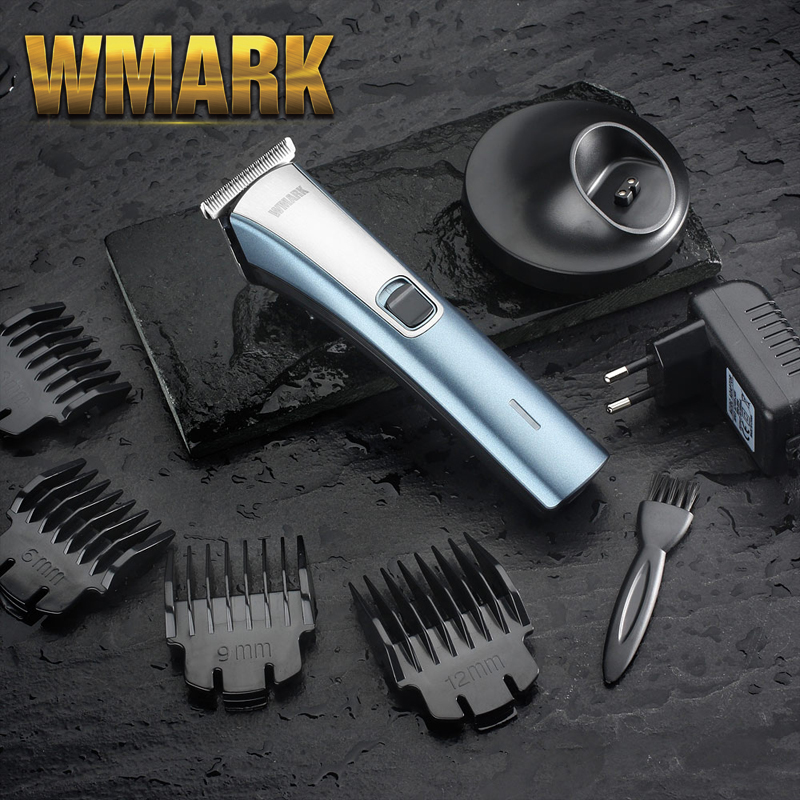 2020 WMARK Cordless Hair Clipper With Charge Base And T-blade Gray And Red Color