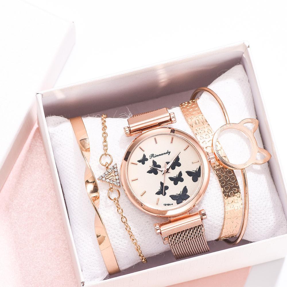 5PCS Watch With Bracelet Luxury Women's Wristwatch Fashion Bangle Ladies Dress Wrist Watch Elegante Clock Gift Relogio