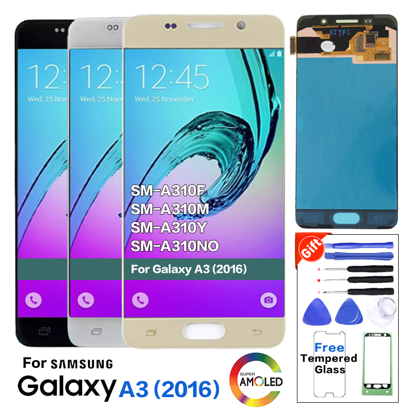 Super <font><b>Amoled</b></font> For Samsung Galaxy A3 2016 A310 <font><b>A310F</b></font> A310H A310M LCD Tested <font><b>Display</b></font> Digitizer Touch Screen Assembly image