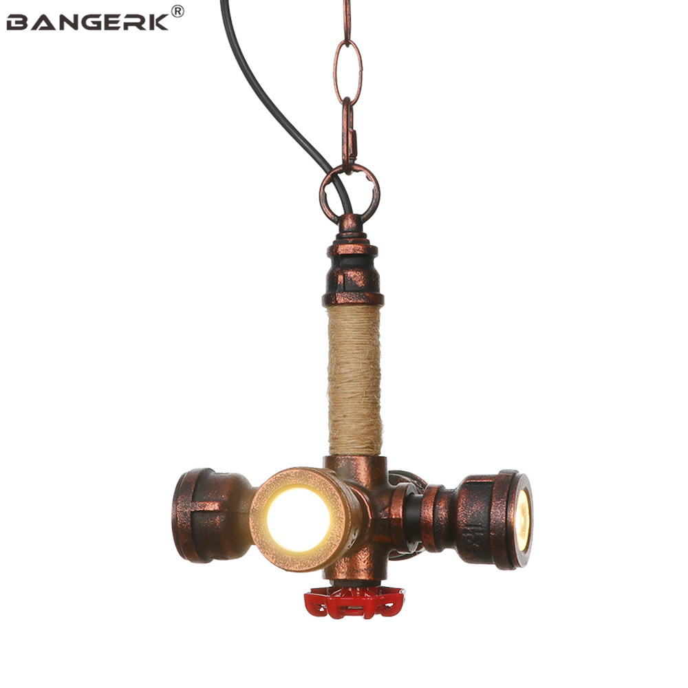 Rust Iron Water Pipe Pendant Lamp Loft Decor LED Edison Industrial Vintage Hanging Light For Home Dining Room Indoor Lighting