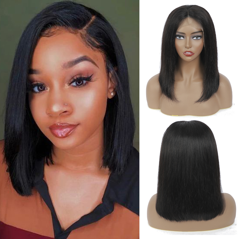 Short Bob Straight Lace Wigs PrePlucked Baby Hair 13x4 Lace Front  Wigs   Bob Lace Closure Wig 1