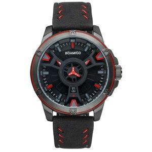 Image 3 - BOAMIGO יוקרה למעלה מותג גברים קוורץ שעון יצירתי אופנה מזדמן ספורט עור שעון יד תאריך אוטומטי שעון relogio masculino