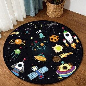 Cartoon Space Planet Round Carpet Blue Black Spacecraft Rocket 3D Printed Childrens Rug Soft Non-slip Floor Carpet For Bedroom