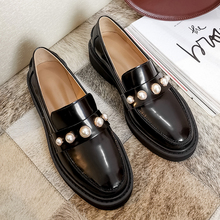 Casual-Shoes Lofers Slip-On Comfort Flat Genuine-Leather Women LOVIRS Pearls-Decoration