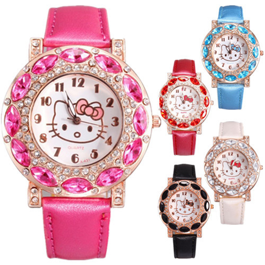 2019 Hello Kitty Women Crystal Dial Rhinestone Quartz Watch Kids Watch Women Girls Wristwatch Relojes Mujer Relog