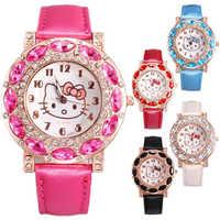2019 hello kitty women Crystal Dial Rhinestone Quartz Watch Kids Watch Women Girls Wristwatch Relojes Mujer Relog