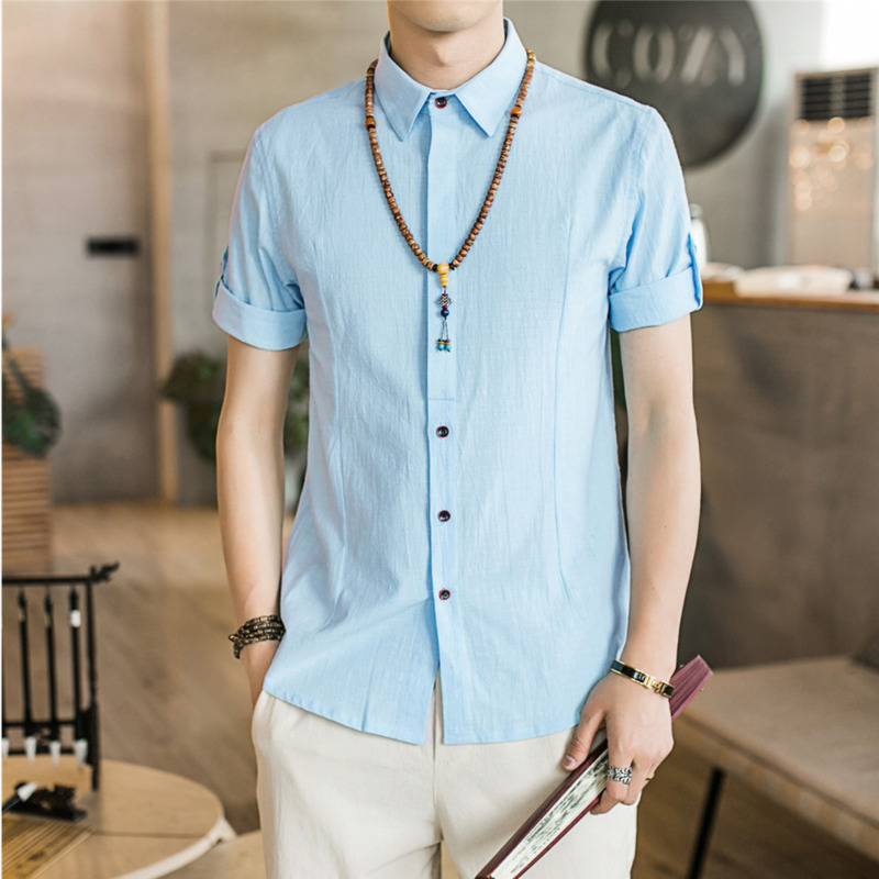 0566 Summer Formal Shirts For Men Casual Slim Fit Vintage Cotton Linen Shirt Short Sleeve Lapel Collar Men 39 s Shirt Office 5XL in Casual Shirts from Men 39 s Clothing