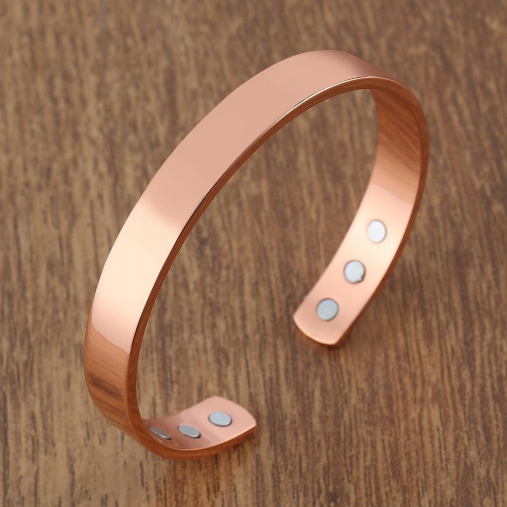 Чистый медный энергетический магнитный браслет, браслеты для здоровья, модный браслет, ювелирное изделие, баланс для фитнеса, розовое золот...