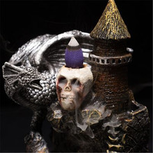 Back Flow Incense Burner Dinosaur skull head resin crafts Home Decor Aromatic Office  Crafts Holder