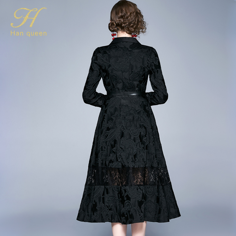 H han queen Winter Jacquard Dress Work Casual Slim Fashion Elegant Vintage Sexy Dresses Women A-line big swing Mid-calf Vestidos 24