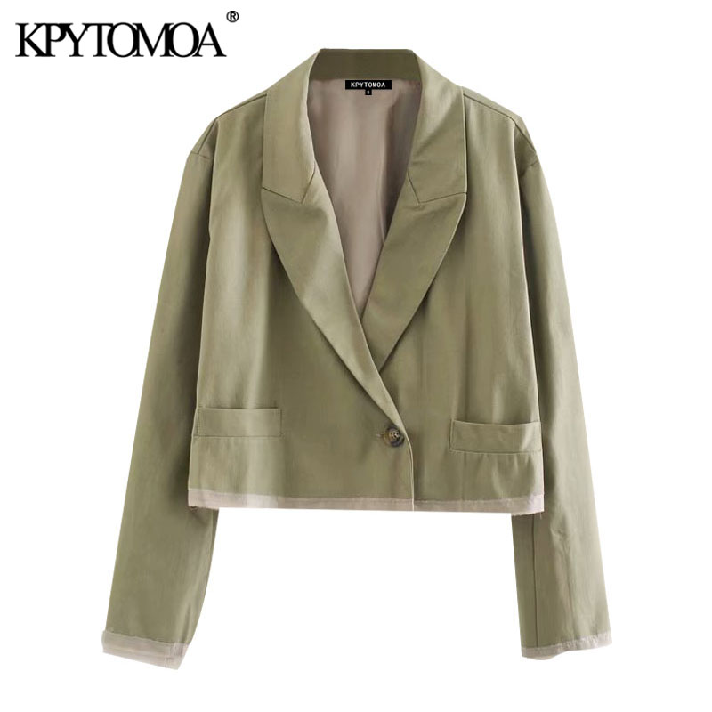 KPYTOMOA Women 2020 Fashion Double Breasted Patchwork Cropped Blazer Coat Vintage Long Sleeve Pockets Female Outerwear Chic Tops