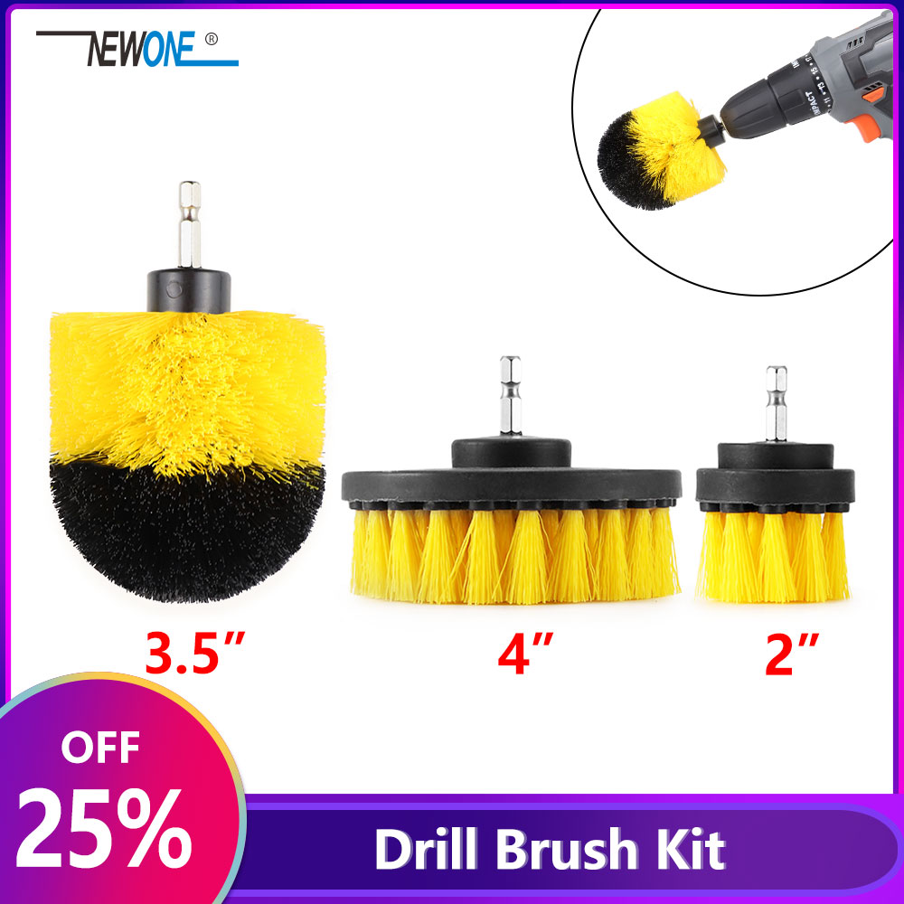 NEWONE 2/3.5/4 Inch Electric Drill Brush Power Scrubber Yellow Medium Stiffness Bristles Bathroom&Shower Cleaning Non-scratches