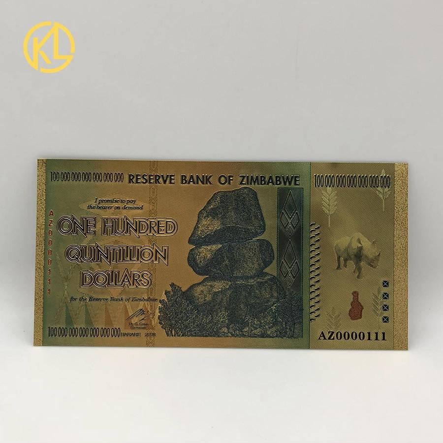 Az0000111 rhinoceros one 100 quintillion 짐바브웨 달러 24 k 골드 지폐 (자외선 워터 마크 포함)-에서금 지페부터 홈 & 가든 의  그룹 2