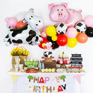 1Set Cow Pig Cake Topper Wrapper Farm Animal Banner Horse Lion Pet Walking Balloons Kids Gift Birthday Party Decoration Supplies(China)