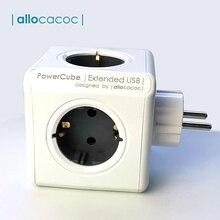 Allocacoc power cube, европейская силовая полоса вилка, умная розетка 4 розетки переменного удлинитель переходник для розетки адаптер путешествий, 3680 Вт, несколько переносных, USB, порта зарядное устройство телефонов