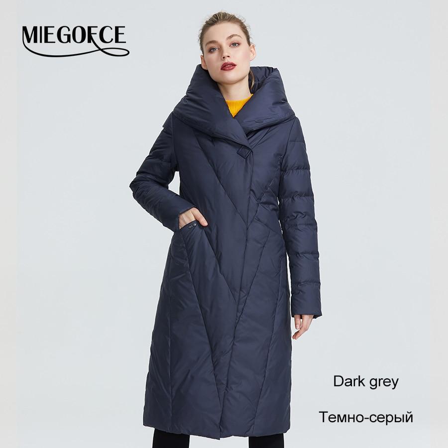 MIEGOFCE 2019 zima długi Model damska kurtka płaszcz ciepłe