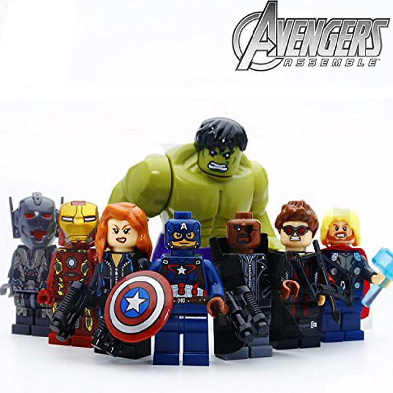 8pcs/lot Avengers Hulk Ironman Super Hero Models & Building Blocks Toys Compatible With Lepining Marvel Toys For Children
