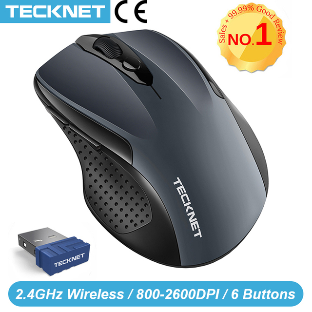 TeckNet Pro 2.4GHz 무선 마우스 나노 수신기 인체 공학적 마우스 6 버튼 2600 인치 당 점 컴퓨터 랩톱 데스크탑 용 5 조정 레벨