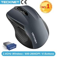 TeckNet Pro 2.4GHz Mouse Senza Fili Del Mouse Nano Ricevitore Mouse Ergonomico 6 Bottoni 2600DPI 5 Livelli di Regolazione per il Computer Portatile desktop