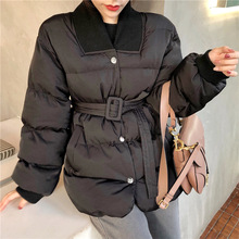 Mooirue Winter Coat Women With Sashes Harajuku Casual Streetwear Overcoat Solid Long Sleeve Loose Cotton Outwear