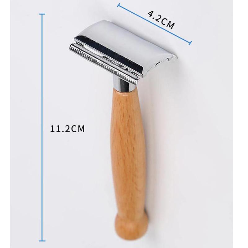 Deals Price for  1pcs Wet Shaving Safety Blade Razor Shaver Wooden Handle Barber Men's Manual Beard Hair Care Tool
