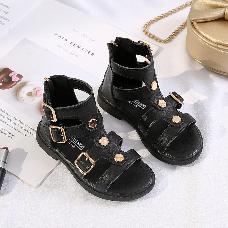 Girls Sandals New  Soft Bottom Little Princess Shoes Fashion Children's High Roman Shoes Baby Teen Girls Gladiator Beach Shoes