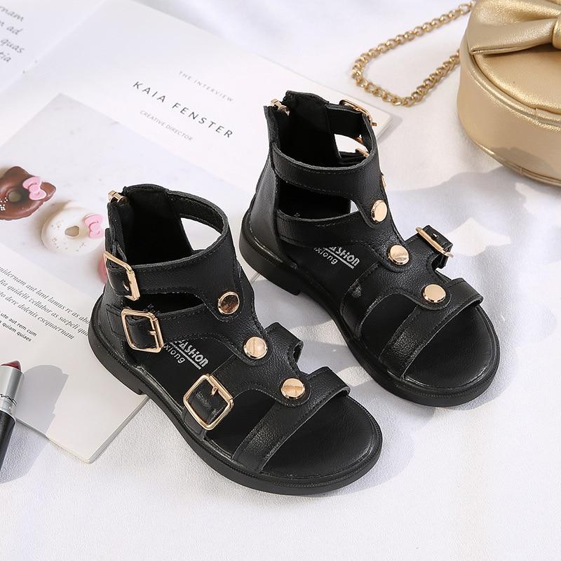 Girls Sandals New  Soft Bottom Little Princess Shoes Fashion Children's High Roman Shoes Baby Teen Girls Gladiator Beach Shoes