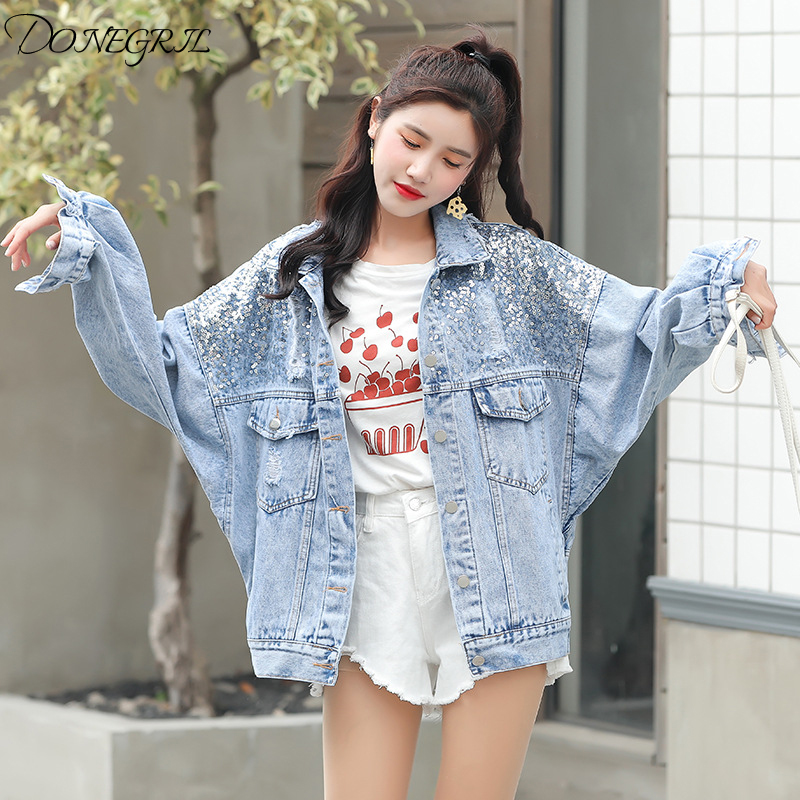Spring Autumn Casual Denim   Jacket   For Women Sequins Loose Bat Sleeve Casual Outwear Ripped Denim   Basic     Jacket   Ladies
