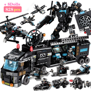City Police SWAT Truck Building Blocks Sets Ship Vehicle INGs WeaponsTechnic DIY Bricks Playmobil Toys For Boys Designer(China)